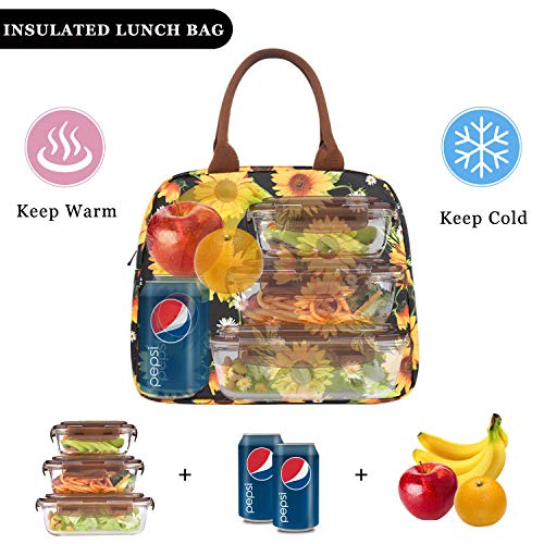 Sunflower Portable Lunch Bag Insulated Cooler Bag For Travel//Picnic//Work Waterproof Lunch Boxes For Women,Men,Kids