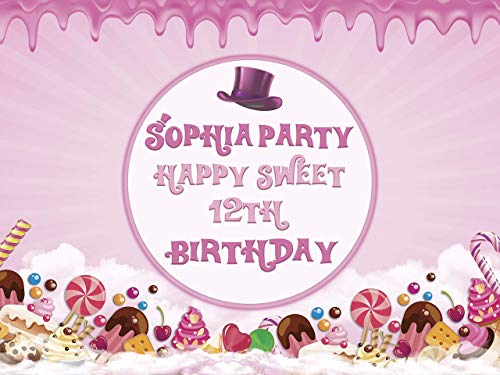 Pink Candy Land Birthday Banner Sweet Chocolate Factory Theme with Hat and Candy Cane Birthday Party Wall Decoration for Any Age Confectionery Birthday Party Size 24x36, 48x24, 48x36, 24x18