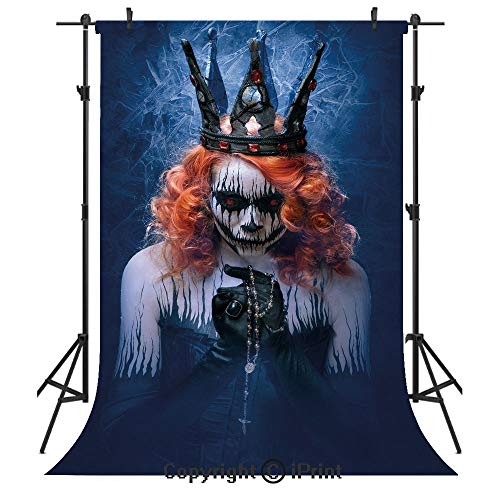 Queen Photography Backdrops,Queen of Death Scary Body Art Halloween Evil Face Bizarre Make Up Zombie,Birthday Party Seamless Photo Studio Booth Background Banner 5x7ft,Navy Blue Orange Black -