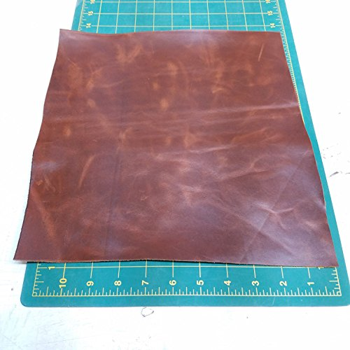 "NAT Leathers Tan cognac Brown Oil Pull-up Distressed 12 Inch X 12 Inch Square Cutting Piece Nappa Soft Upholstery Handbag Cowhide Genuine Cow Leather Hide Skin (12""x 12"" Cutting)"