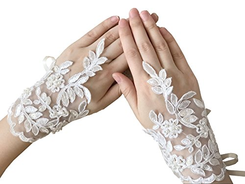 Short Fingerless Bridal Lace Gloves With Pearls Wedding Gloves Wrist-length P28 (Ivory)