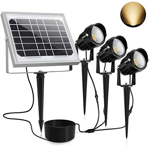 CLY Upgrade Solar Spotlights LED Solar Landscape Lights 3 in 1 Solar Spot Lights Outdoor Bright IP66 Waterproof Solar Powered Lights Wall Lights Security Lighting for Garden Yard Walkway(Warm White)