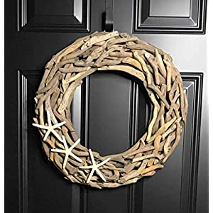 "Natural Driftwood Wreath with Three White Starfish for Front Door Summer Summertime Spring Winter Fall Year Round Cottage Nautical Beach Coastal Home Decor, Handmade, 19"" 120"
