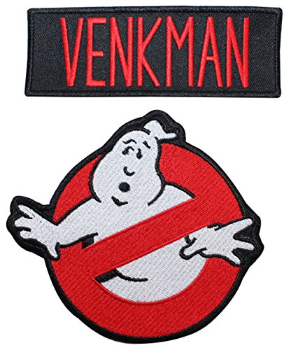 Ghostbusters Venkman Name Tag & No Ghost Embroidered Iron On Applique Patch ()