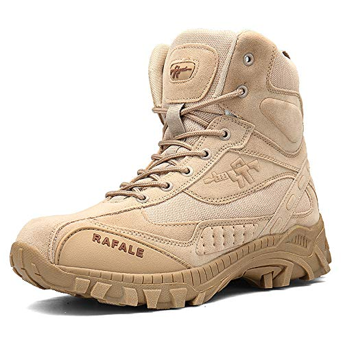 YIRUIYA Men's Breathable Hiking Shoes Suede Leather Hunting Military Tactical Boots