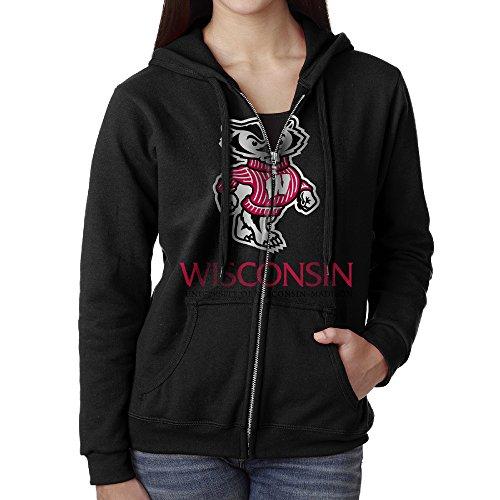 [YUNIEFA Women's University Of Wisconsin-madison Zip-Up Hoodies Jackets Black Size L] (Iowa Hawkeye Mascot Costume)