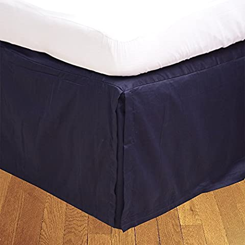 BudgetLinen (1 Box Pleated Bed skirt Only,Navy Blue , Full , Drop Length 24 inches) 100% Egyptian Cotton Luxurious 300 Thread Count