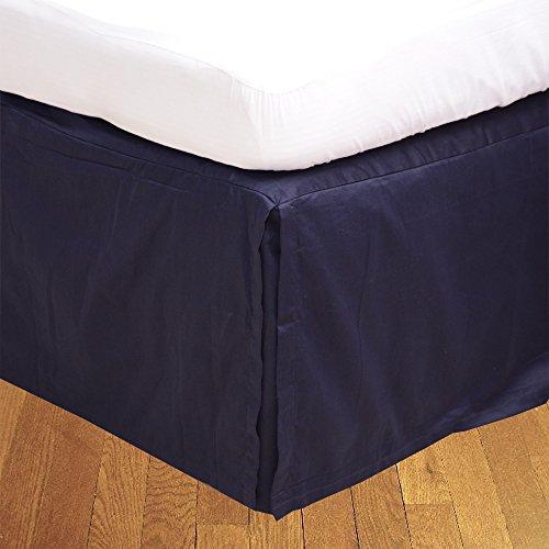 LaxLinens 200 fils cm², 100%  coton, finition élégante 1 jupe plissée de chute Longueur    26 cm lit Double, petit Bleu marine uni