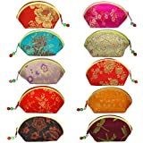Silky Embroidered Brocade Oriental Fan Zipper Jewelry Coin Pouch Wallet (Set of 10)