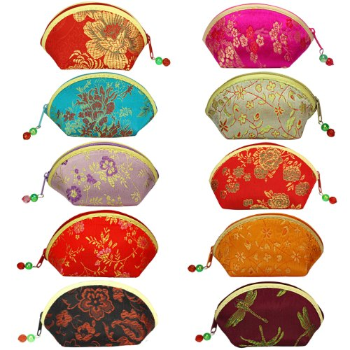 Silky Embroidered Brocade Oriental Fan Zipper Jewelry Coin Pouch Wallet (Set of 10) -