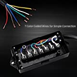 MICTUNING Heavy Duty 7 Way Plug Inline Trailer Cord with 7 Gang Junction Box - 8 Feet, Weatherproof