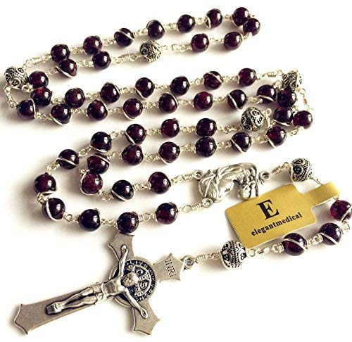 elegantmedical Handmade Wire Wrap Garnet & Sterling Silver Beads Catholic Rosary Cross Necklace Box Gift
