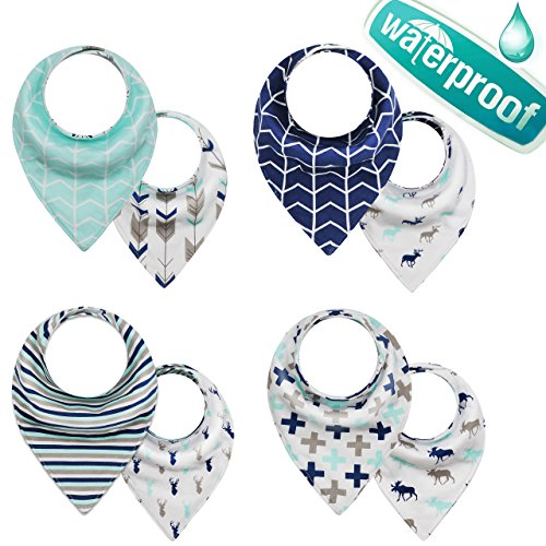 Reversible Baby & Toddler Bandana 3 Layers Waterproof Bibs with Adjustable Snap for Boys and Girls, (4-Pack) (Waterproof Bandana)
