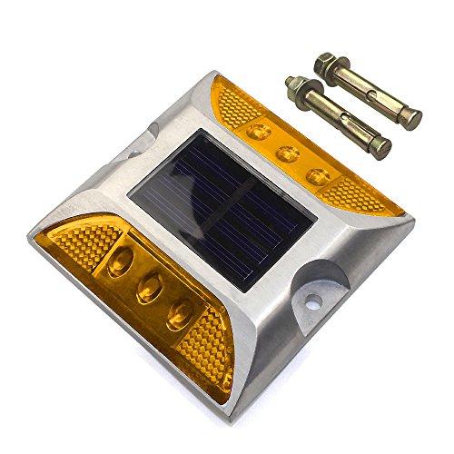 CST Lighting Aluminum Solar 6-LED Outdoor Road Driveway Dock Path Ground Light Lamp-Yellow
