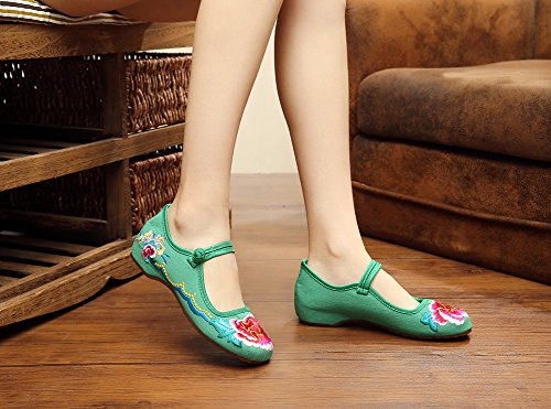 Avacostume Mujeres Red Embroidery Flats Suela De Goma Casual Mary Jane Zapatos Green