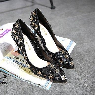 Botas de las mujeres de Otoño-Invierno Comodidad Vestido ocasional de la PU tacón grueso de la cremallera con cordones Negro Marrón Burdeos Gold