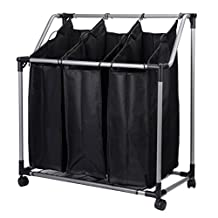 SortWise ® 3-Bag Rolling Laundry Sorter Cart Heavy-Duty Sorting Hamper W/ Removable Bags & Brake Casters, Black