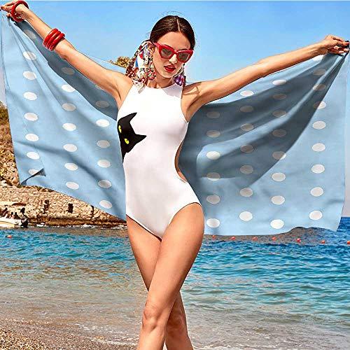 alisoso Aqua,Baby Bath Towels Polka Dots Blue and White W28 xL55 Soft and Durable
