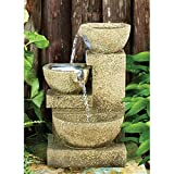 Water Fountain with LED Light - Villa Fortino Garden Decor Tabletop Fountain - Desk Fountain Water Feature