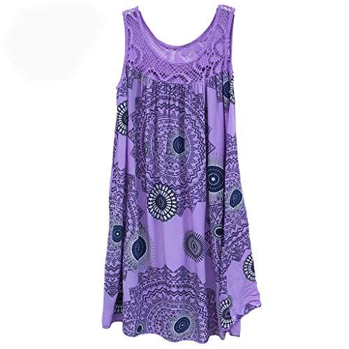 Women's Dresses Lace Stitching Print Sleeveless Mini Dress O-Neck Plus Size Polyester Skirt Loose Casual Tank Tops