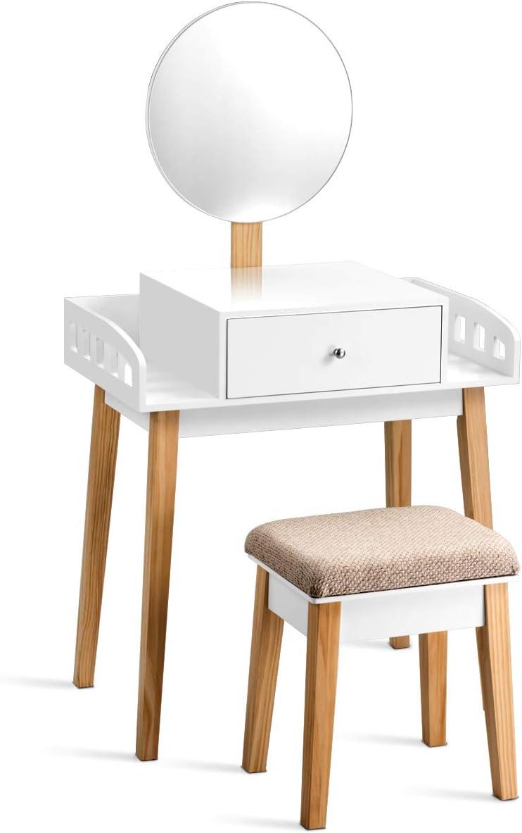 Toletta Trucco 2 in 1 con Superficie Smontabile con Specchio e Cassetto Bianco 80 x 42 x 105 cm COSTWAY Set Toeletta e Sedia per Bambine