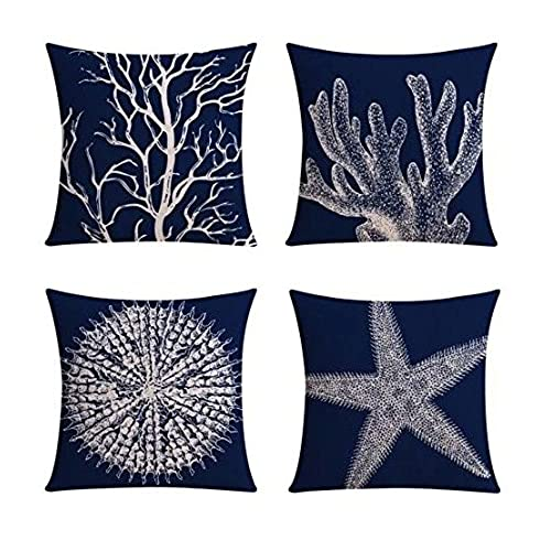 Good 【Bailand】Set Of 4 Nautical Sea Side Theme Cushion Cover,Sofa Cushion Car  Office Pillowcase,Beige Cotton Blend Linen Decorative Pillow Cover 18X18  Inch ...