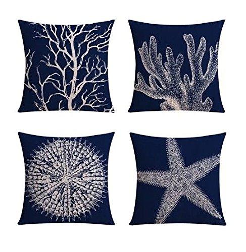 【Bailand】Set of 4 Nautical Sea Side Theme Cushion cover,