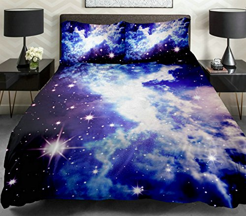 Anlye Galaxy Duvet Cover Galaxy Quilt Cover Galaxy Sheets Space Sheets Girls Bedding Sets White Bedding Set with 2 Matching Pillow Covers (Twin) by Anlye