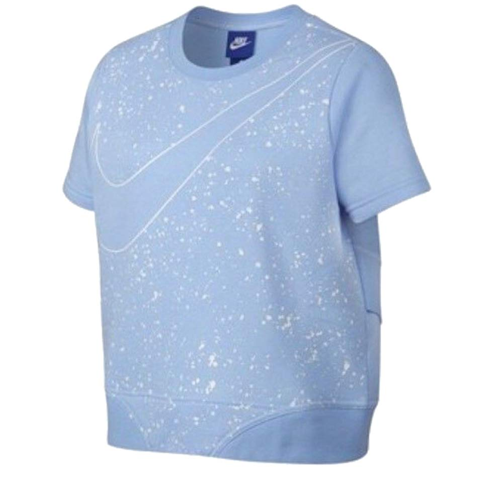 Nike Girls Crewneck Wrap Back Short Sleeve Sweatshirt Light Blue 890544 415