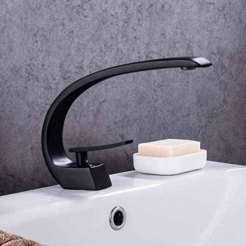 S-TING 蛇口 銅ホットとコールド流域の蛇口、洗面台黒単穴は、混合弁 水栓金具 立体水栓 万能水栓