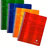 Clairefontaine 87244 °C – Pack of 5 Notebooks with Swirls A5 Grid Maxi 4 x 4 100 Pages, Assorted Colours