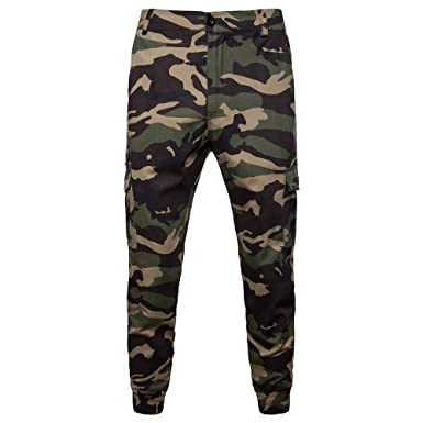 442e09524837 OHQ Pantalon D EntraîNement Camouflage pour Homme ArméE Noire Hommes Poche  Salopettes Occasionnels Sport Travail DéContracté Slim Cargo Chino Lin  Jeans ...