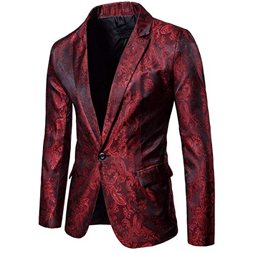 Cloudstyle Mens Slim Fit Paisley Suit Single Breasted Party Suit Jacket 1 Button Sport Coat (Burgundy, X-Large)