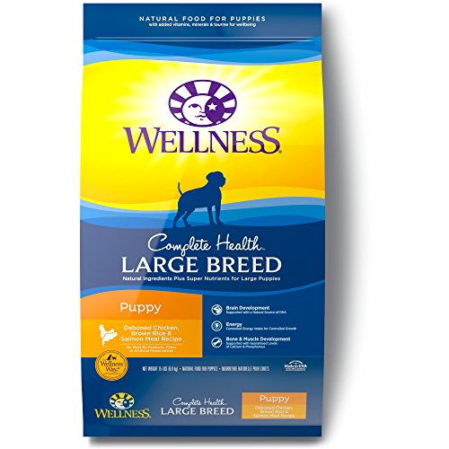 Wellness Complete Health Natural Dry Large Breed Puppy Food, Chicken, Salmon & Rice, 15-Pound Bag