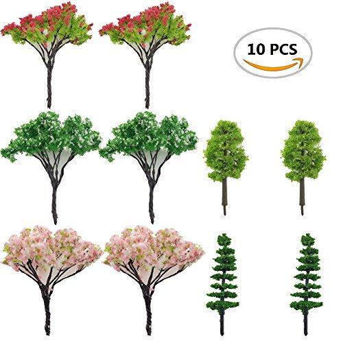 Oruuum 10 Piece Miniature Fairy Garden Tree Plant Ornament, Miniature Dollhouse Pots Decor Moss Bonsai Micro Landscape DIY Craft Garden Ornament