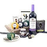 Cheese and Wine Hampers - Red Wine and Savouries Gift Baskets with a Trio of Cheeses Chutney Nuts Chocolates and Biscuits