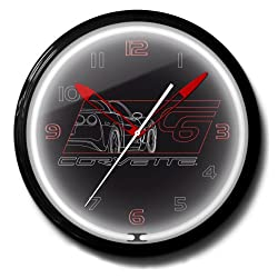 Corvette C6 Black Genuine Vette Emblem Neon Wall Clock 20 Made In USA - Spun Aluminum Case with Powder Coated Finish
