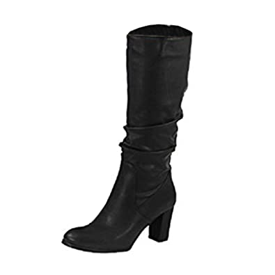 ae3a852eecc Loud Look Womens Ladies Faux Suede Zip Rouched Mid Calf Knee High Heel  Boots Shoes Size 8  Amazon.co.uk  Shoes   Bags