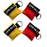 4pcs/lot CPR MASK WITH KEYCHAIN CPR FACE SHIELD AED RED&YELLOW POUCH CPR 30:2