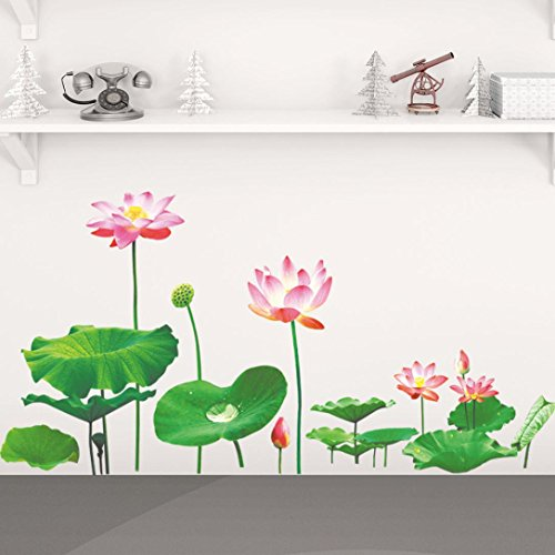 Lotus Office (Ussore 1PCS Simulation Lotus Removable Wall Sticker Decal For living bedroom kitchen Office)