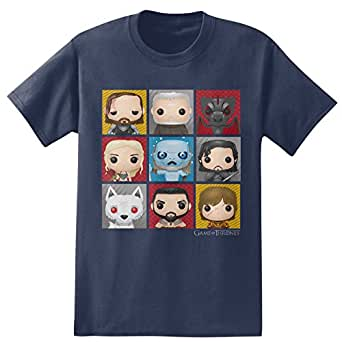 HBO'S Game of Thrones Men's Funko Character Boxes T-Shirt- Iris Navy (Small)