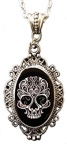 Alkemie Swirly Skull Cameo Necklace ()