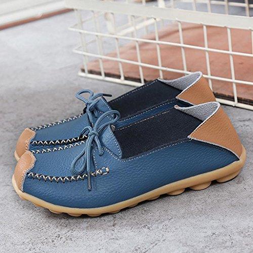 ESAILQ Calzado Pisos Elegante Cuero Zapatos Plano De Proteccion Para Fiesta Mujer A Azul