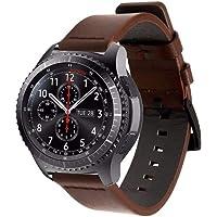 Pulseira de Couro para Samsung Gear S3 Frontier - Galaxy Watch 46mm - Marca Ltimports (Marrom Escuro)