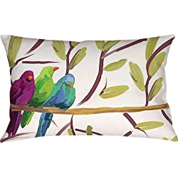 Manual Climaweave Indoor/Outdoor Decorative Throw Pillow, 18 X 13-Inch, Flocked Together Songbirds