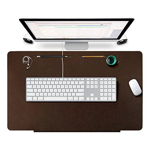 Desk Pads Protecter, OLAGO Leather Smooth Desk Mat Blotters Organizer with Fixation Lip and Comfortable Writing Surface for Desktops and Laptops,Office and Home, 27.5 x 17.7 (Brown)
