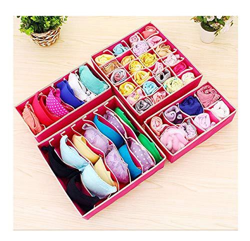(wing 4Pcs Underwear Bra Scarfs Socks Organizer Storage Box Color Foldable Divider,Rose)