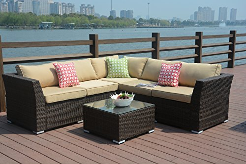 Direct Wicker 4pc Patio Sectional Furniture PE Wicker Rattan Sofa Set Deck Couch Outdoor