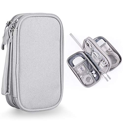 Bevegekos Cable and Charger Organizer, Travel Case Pouch for Small Electronics & Accessories (Light Grey)