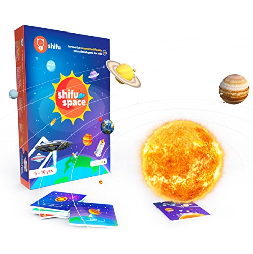 Shifu Space - 60 Space Objects in 4D - Augmented Reality educational game (Gift for Kids - Boys & Girls age 5-10 years - Fun & STEM Learning) - Solar System, Satellites, Missions & Key People